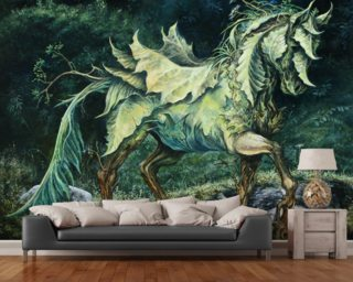 Horse of Leaves wallpaper mural
