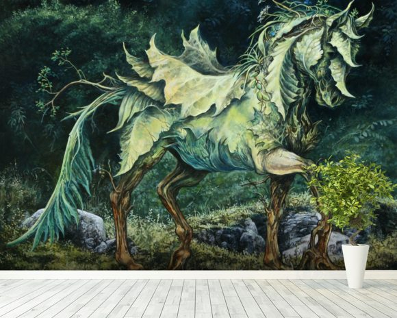 Horse of Leaves wallpaper mural room setting