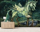 Horse of Leaves wallpaper mural living room preview