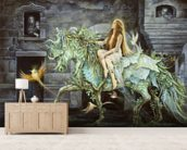 She comes into the City wall mural living room preview