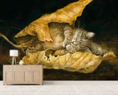 Feuillede chat wallpaper mural living room preview