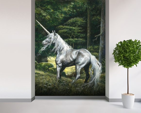 Unicorn wall mural room setting
