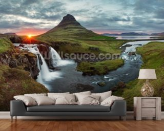 Icelandic Landscape at Sunset wall mural