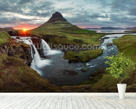Icelandic Landscape at Sunset wall mural room setting