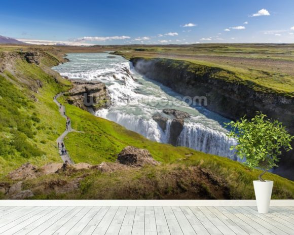 Nvita River & Gullfoss Waterfall, Iceland mural wallpaper room setting
