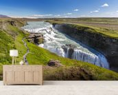 Nvita River & Gullfoss Waterfall, Iceland mural wallpaper living room preview