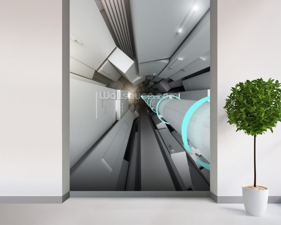 Hadron collider tunnel wall mural room setting