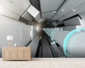 Hadron collider tunnel wall mural living room preview