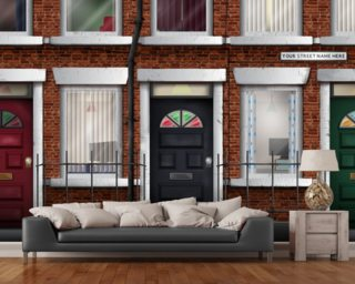 Terraced Houses wallpaper mural