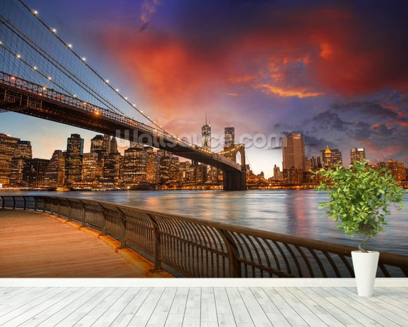 Brooklyn Bridge Park, Sunset mural wallpaper room setting