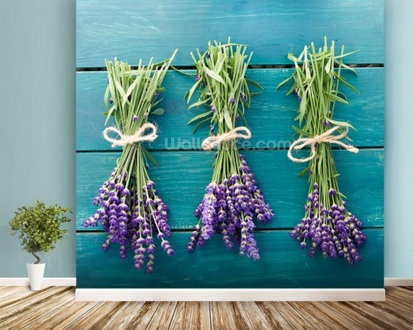 Lavender Bouquets mural wallpaper room setting