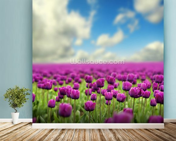 Spring Tulips wallpaper mural room setting