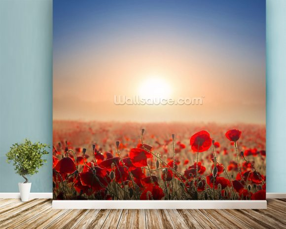 Red Poppy Fields mural wallpaper room setting