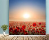 Red Poppy Fields mural wallpaper in-room view