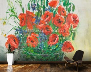 Poppy Bouquet Oil Painting wall mural