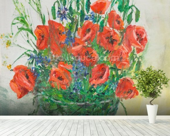 Poppy Bouquet Oil Painting wall mural room setting