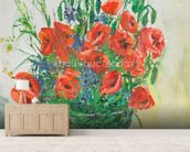 Poppy Bouquet Oil Painting wall mural living room preview