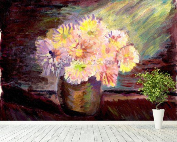 Flower Oil Painting Mural Wallpaper Room Setting