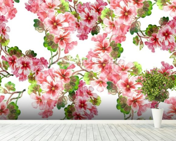 Geranium Pattern wallpaper mural room setting