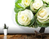 Cabbage Flowers mural wallpaper kitchen preview
