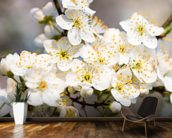 White Spring Flowers wallpaper mural kitchen preview