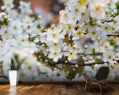White Spring Flower Blossom mural wallpaper kitchen preview