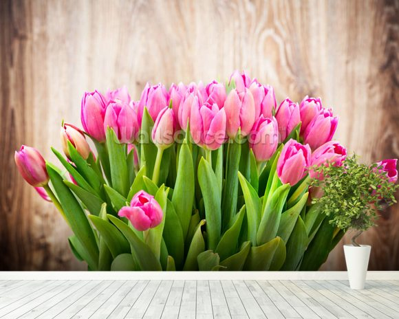 Tulip Bouquet wallpaper mural room setting