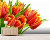 Orange Tulips wallpaper mural living room preview