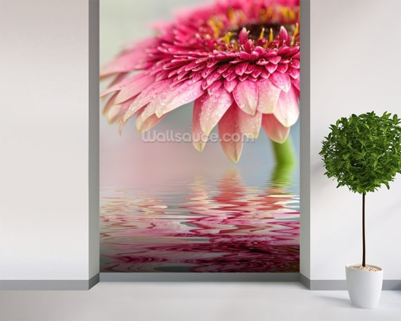 Pink Flower Blossom mural wallpaper room setting