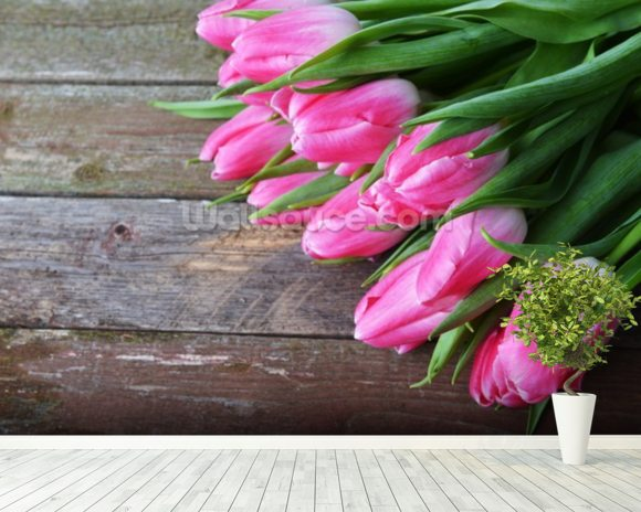 Pink Tulips Vertical mural wallpaper room setting