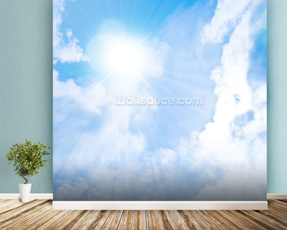 Sunlight Through Clouds mural wallpaper room setting