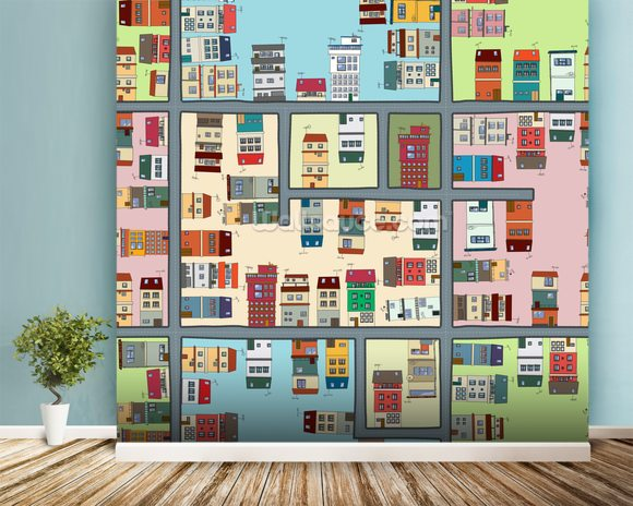 Cartoon Street Map mural wallpaper room setting