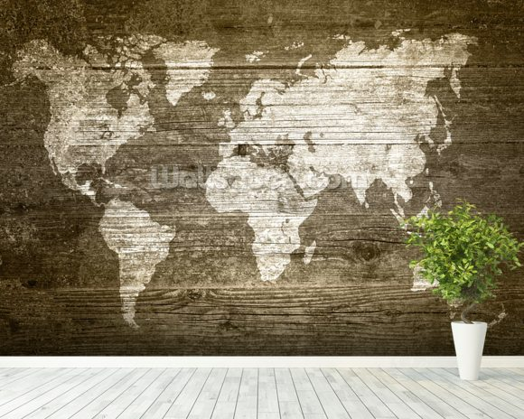 World map on wood wallpaper wall mural wallsauce australia world map on wood wall mural room setting gumiabroncs Choice Image