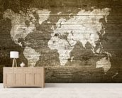 World Map on Wood wall mural living room preview