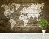 World Map on Wood wall mural in-room view