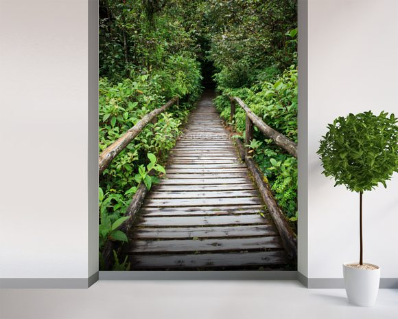 Evergreen Forest Walkway wallpaper mural room setting