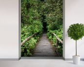 Evergreen Forest Walkway wallpaper mural in-room view