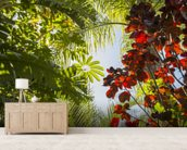 Jungle Canopy mural wallpaper living room preview