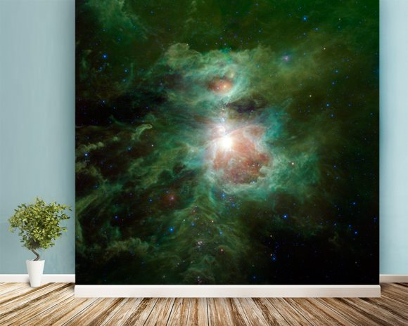 The Cosmic Hearth wallpaper mural room setting