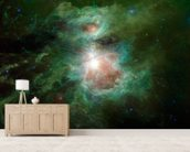 The Cosmic Hearth wallpaper mural living room preview