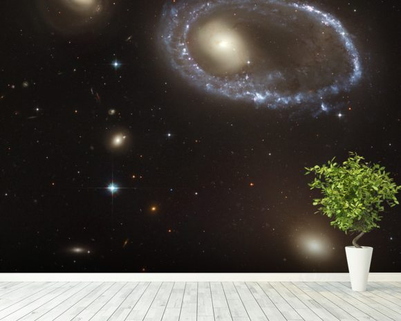 Blue Stars Ring Nucleus of Galaxy AM 0644-741 mural wallpaper room setting