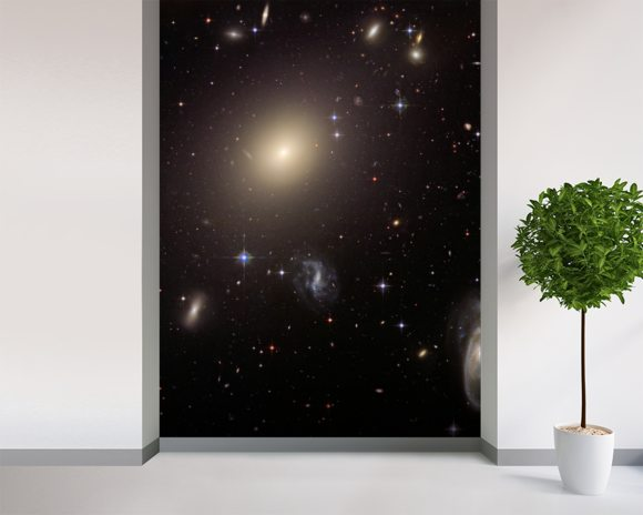 Hubble Illuminates Cluster of Diverse Galaxies mural wallpaper room setting