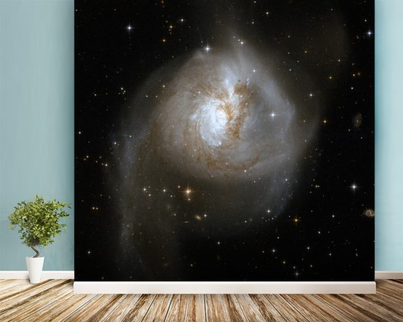 Hubble Interacting Galaxy NGC 3256 wallpaper mural room setting
