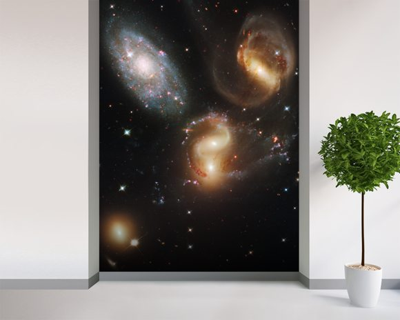 Galactic Wreckage in Stephan's Quintet wall mural room setting