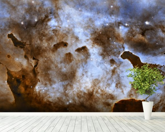 Cosmic Ice Sculptures: Dust Pillars in the Carina Nebula wall mural room setting