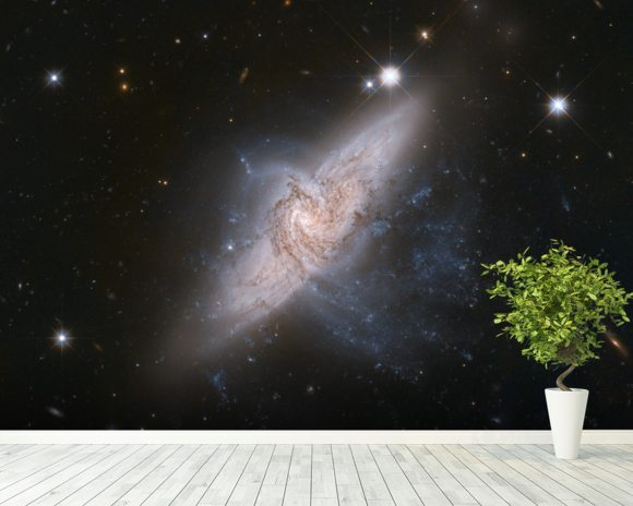 Chance Alignment Between Galaxies Mimics a Cosmic Collision wallpaper mural room setting