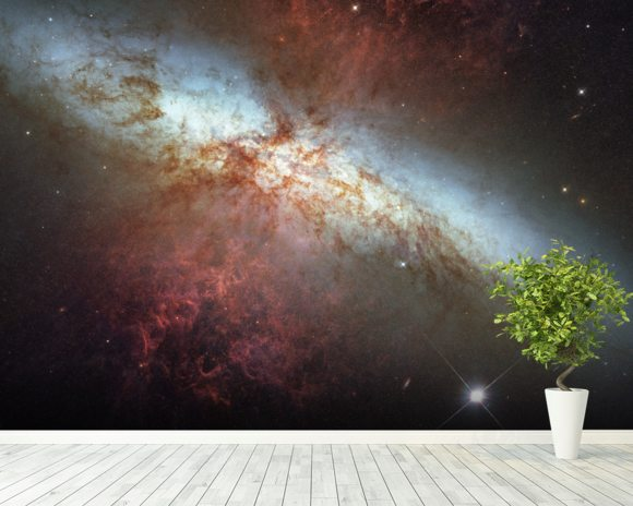 M82 Hubble Mosaic with 2014 Supernova wall mural room setting