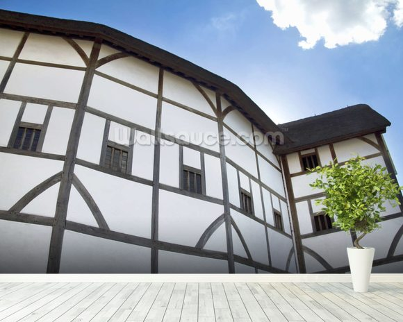 The Globe Theatre mural wallpaper room setting