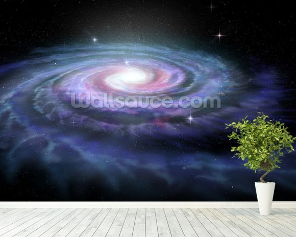 Spiral Galaxy Milky Way mural wallpaper room setting