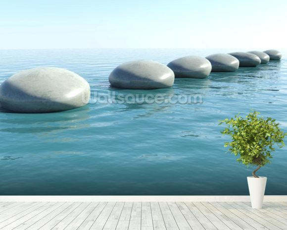 Zen Rock Pool wall mural room setting
